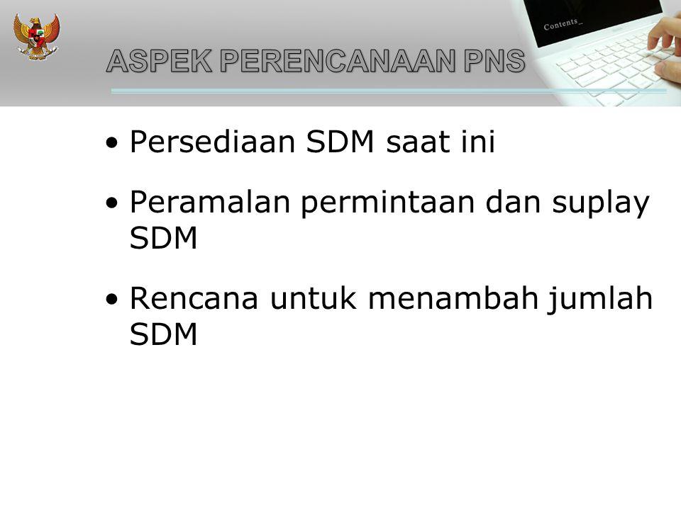 ASPEK PERENCANAAN PNS Persediaan SDM saat ini. Peramalan permintaan dan suplay SDM.