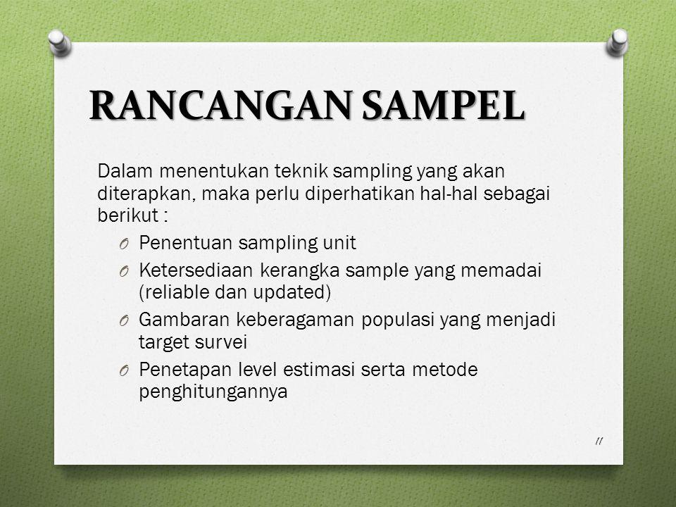 RANCANGAN SAMPEL Dalam menentukan teknik sampling yang akan diterapkan, maka perlu diperhatikan hal-hal sebagai berikut :