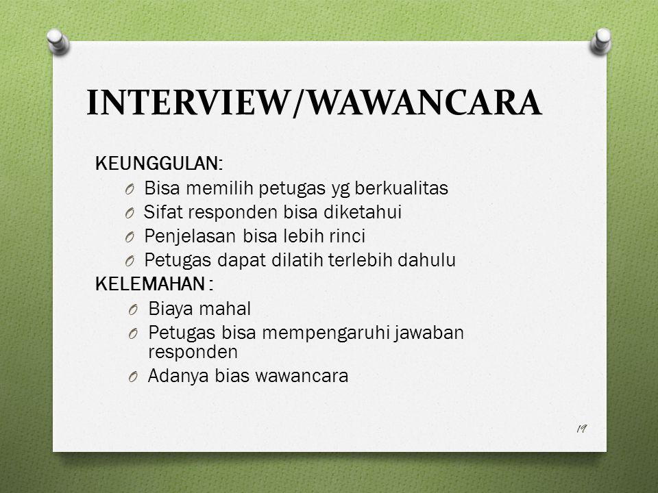 INTERVIEW/WAWANCARA KEUNGGULAN: Bisa memilih petugas yg berkualitas