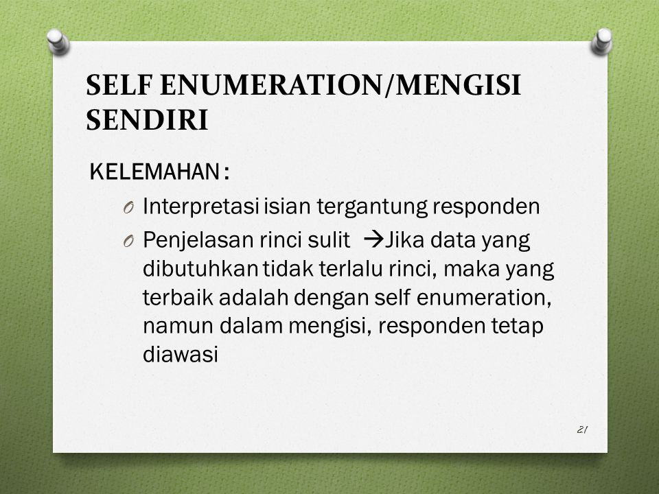 SELF ENUMERATION/MENGISI SENDIRI