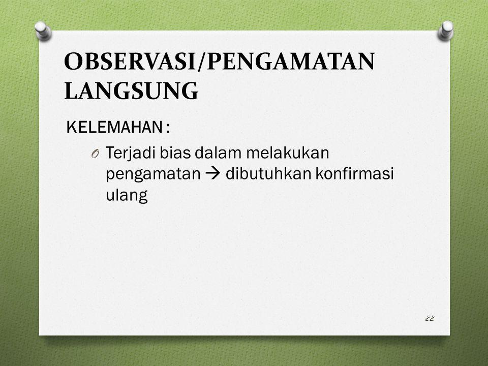OBSERVASI/PENGAMATAN LANGSUNG