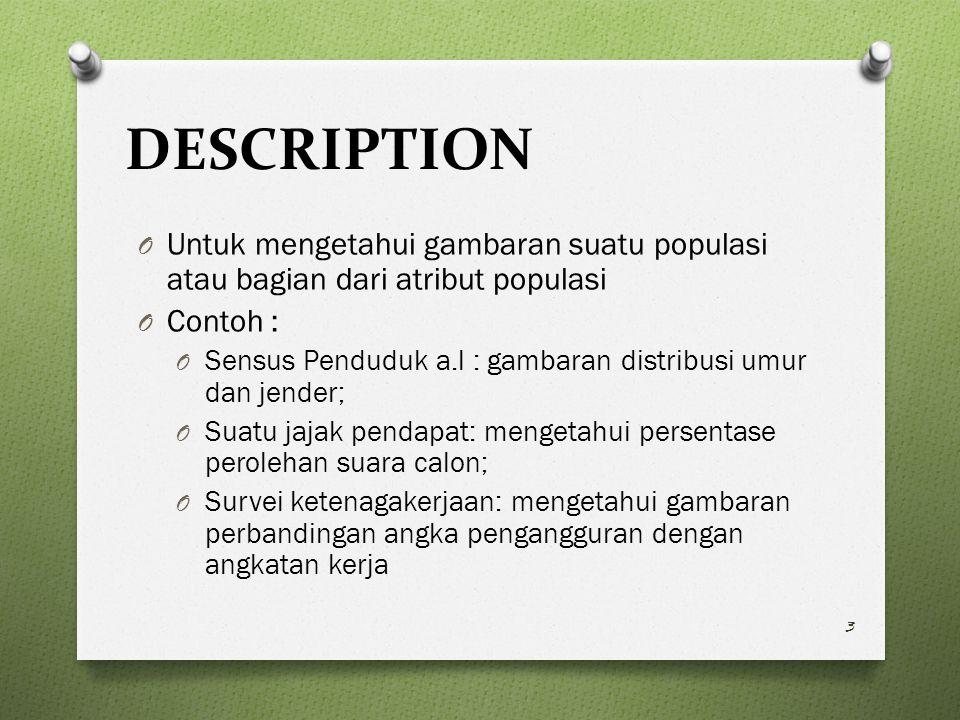 DESCRIPTION Untuk mengetahui gambaran suatu populasi atau bagian dari atribut populasi. Contoh :