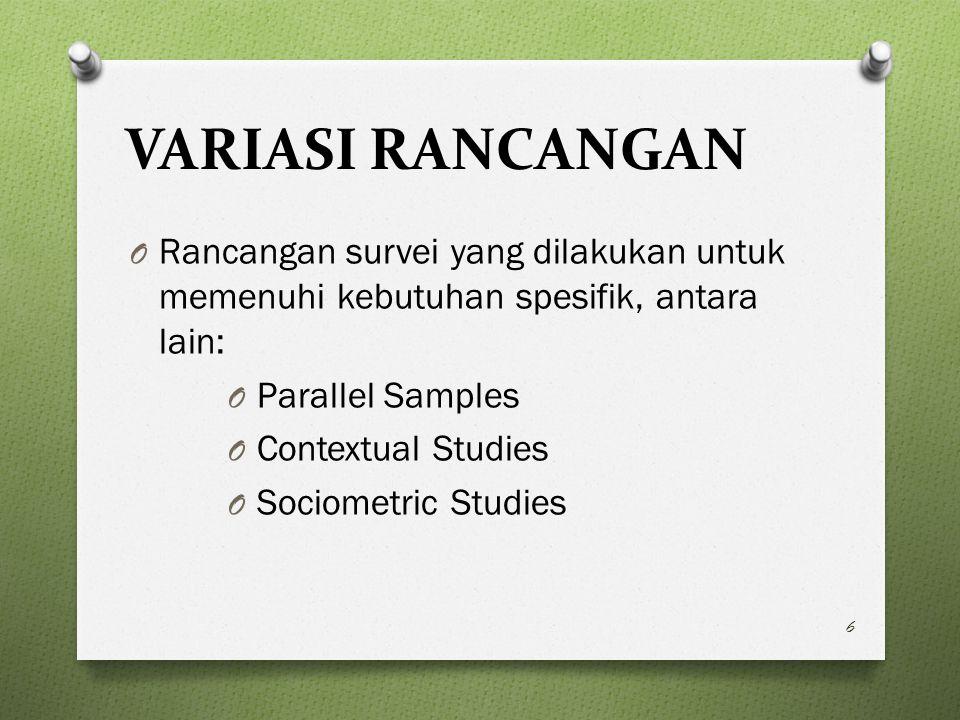 VARIASI RANCANGAN Rancangan survei yang dilakukan untuk memenuhi kebutuhan spesifik, antara lain: Parallel Samples.
