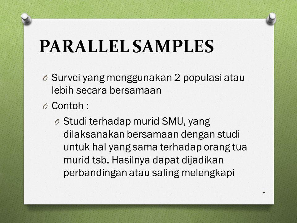PARALLEL SAMPLES Survei yang menggunakan 2 populasi atau lebih secara bersamaan. Contoh :