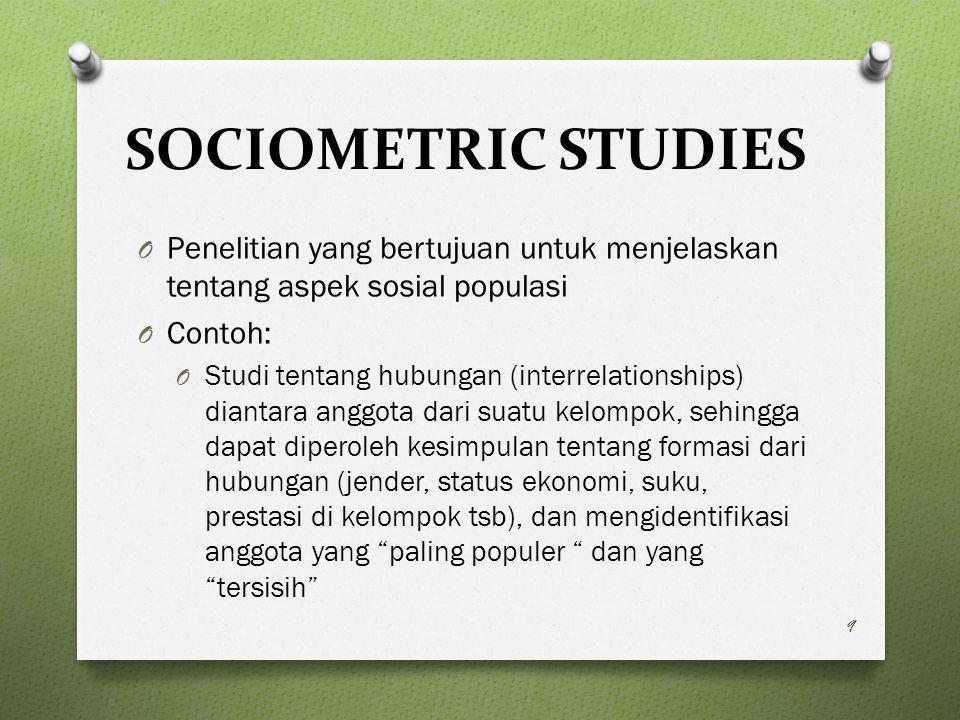 SOCIOMETRIC STUDIES Penelitian yang bertujuan untuk menjelaskan tentang aspek sosial populasi. Contoh: