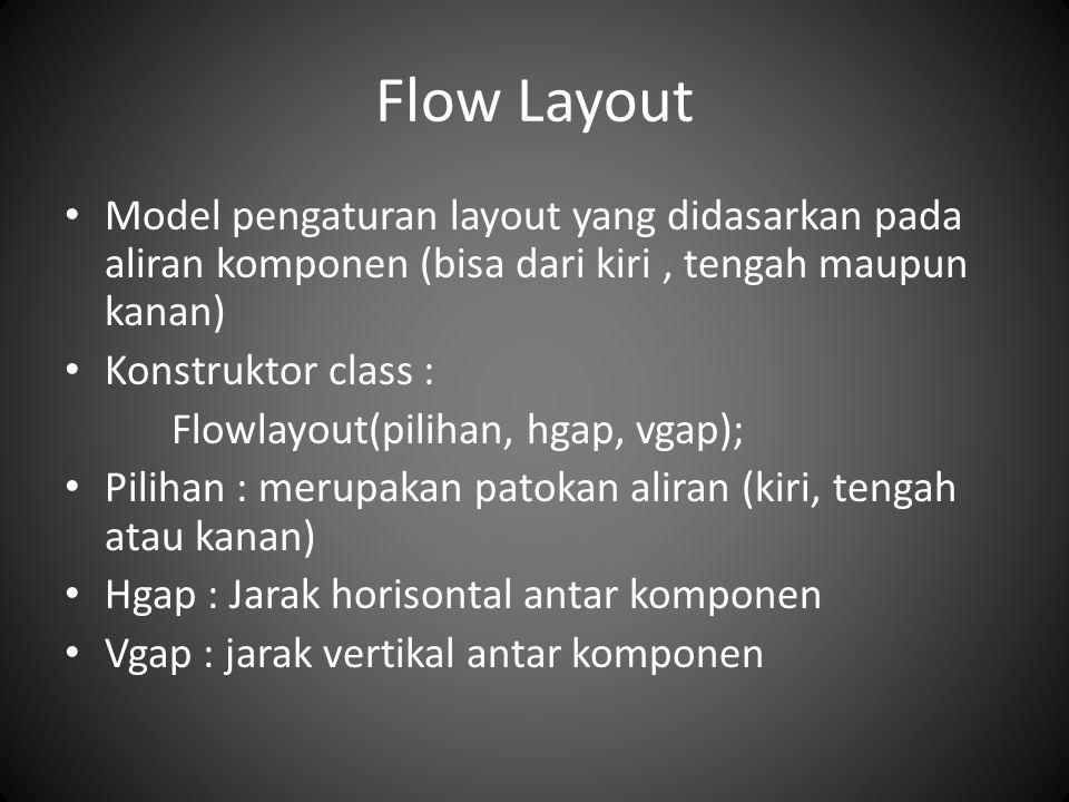 Flow Layout Model pengaturan layout yang didasarkan pada aliran komponen (bisa dari kiri , tengah maupun kanan)