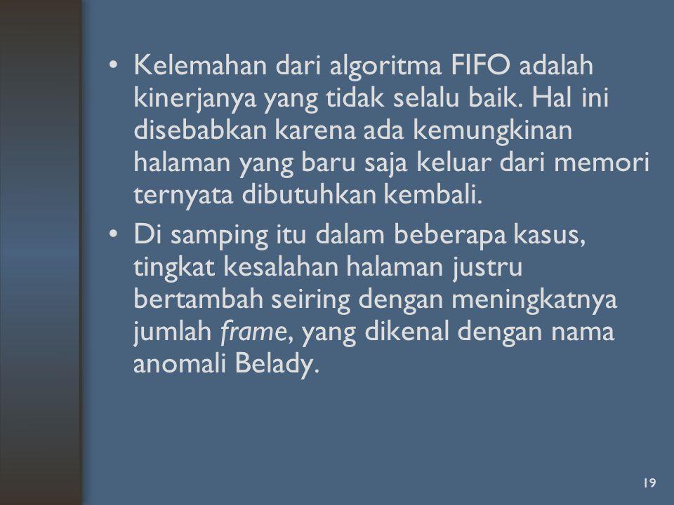 Kelemahan dari algoritma FIFO adalah kinerjanya yang tidak selalu baik