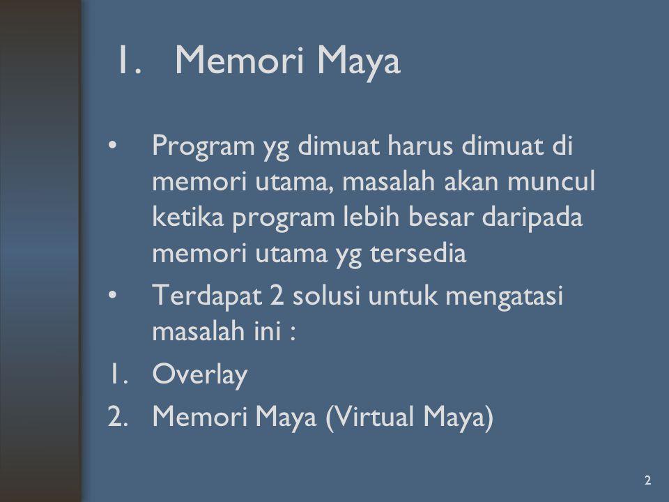 Memori Maya Program yg dimuat harus dimuat di memori utama, masalah akan muncul ketika program lebih besar daripada memori utama yg tersedia.