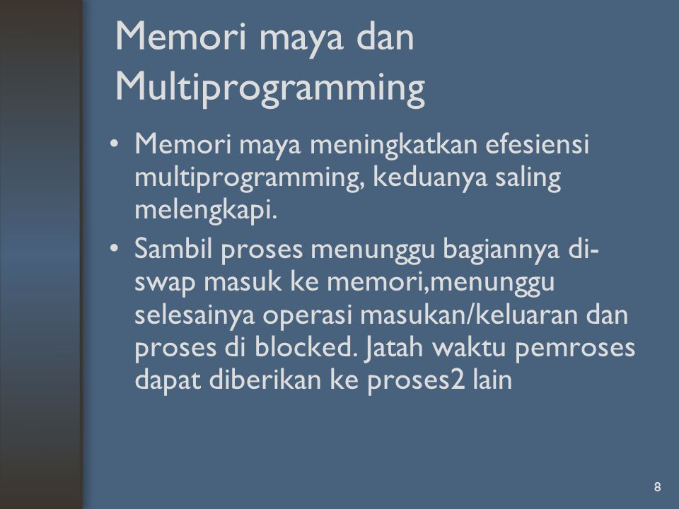 Memori maya dan Multiprogramming