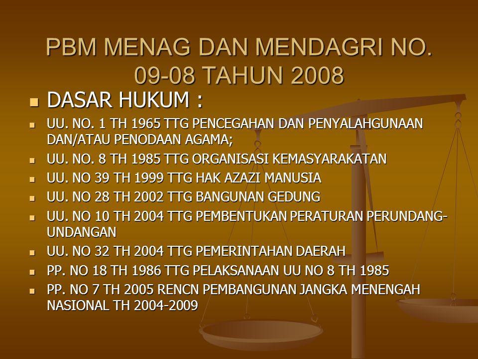 PBM MENAG DAN MENDAGRI NO. 09-08 TAHUN 2008