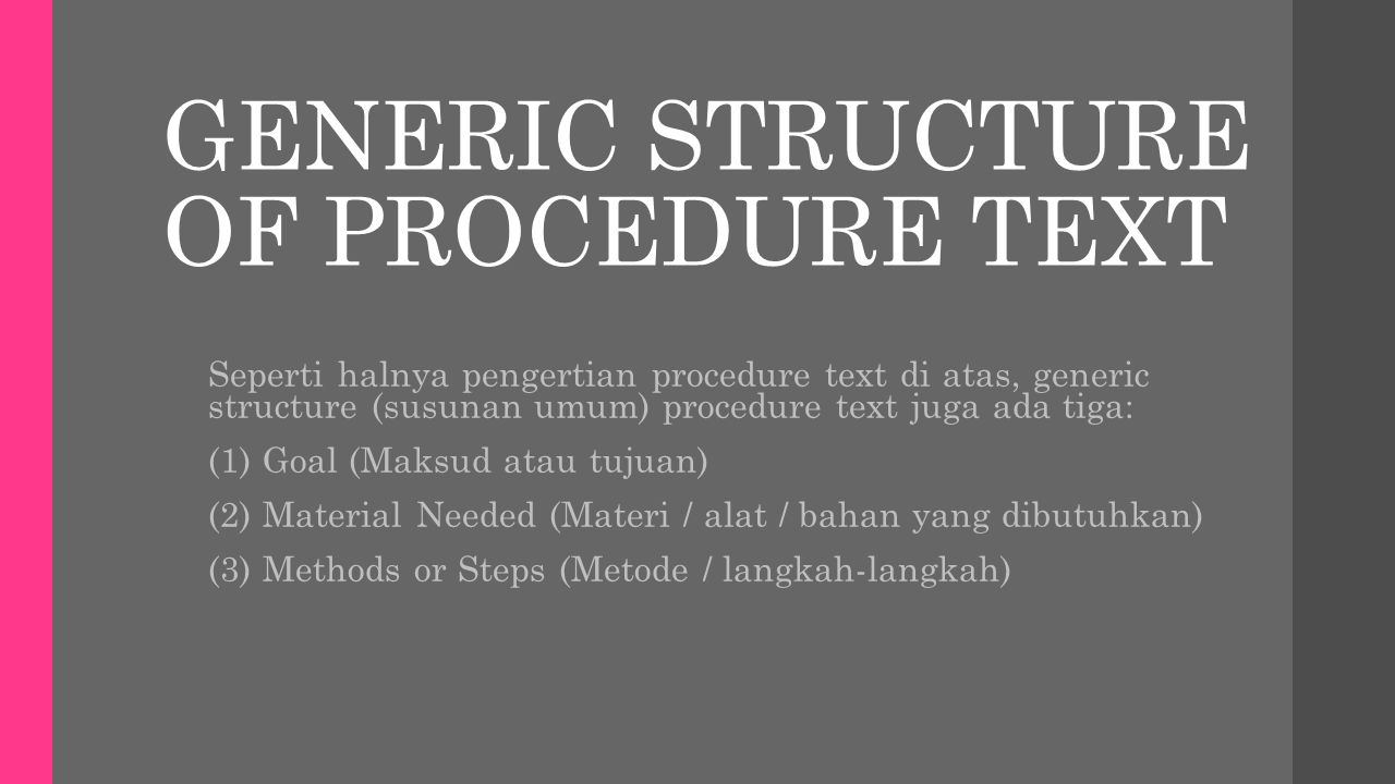 GENERIC STRUCTURE OF PROCEDURE TEXT