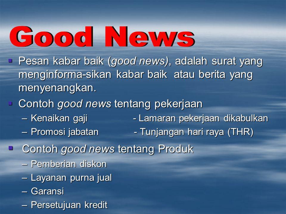Good News Contoh good news tentang Produk