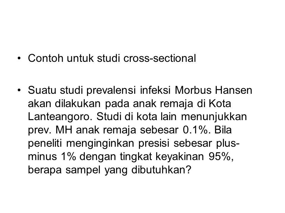 Contoh untuk studi cross-sectional