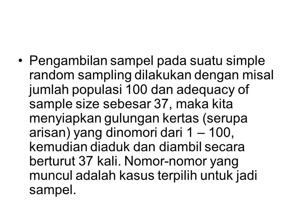Pengambilan sampel pada suatu simple random sampling dilakukan dengan misal jumlah populasi 100 dan adequacy of sample size sebesar 37, maka kita menyiapkan gulungan kertas (serupa arisan) yang dinomori dari 1 – 100, kemudian diaduk dan diambil secara berturut 37 kali.