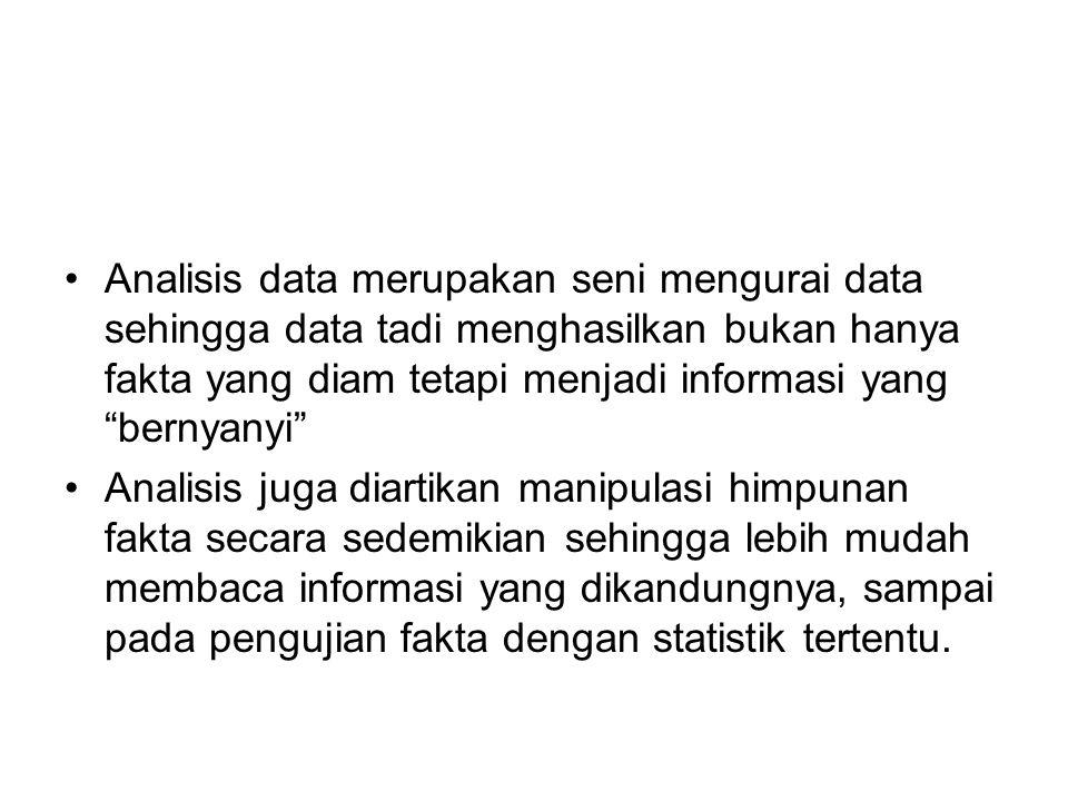 Analisis data merupakan seni mengurai data sehingga data tadi menghasilkan bukan hanya fakta yang diam tetapi menjadi informasi yang bernyanyi