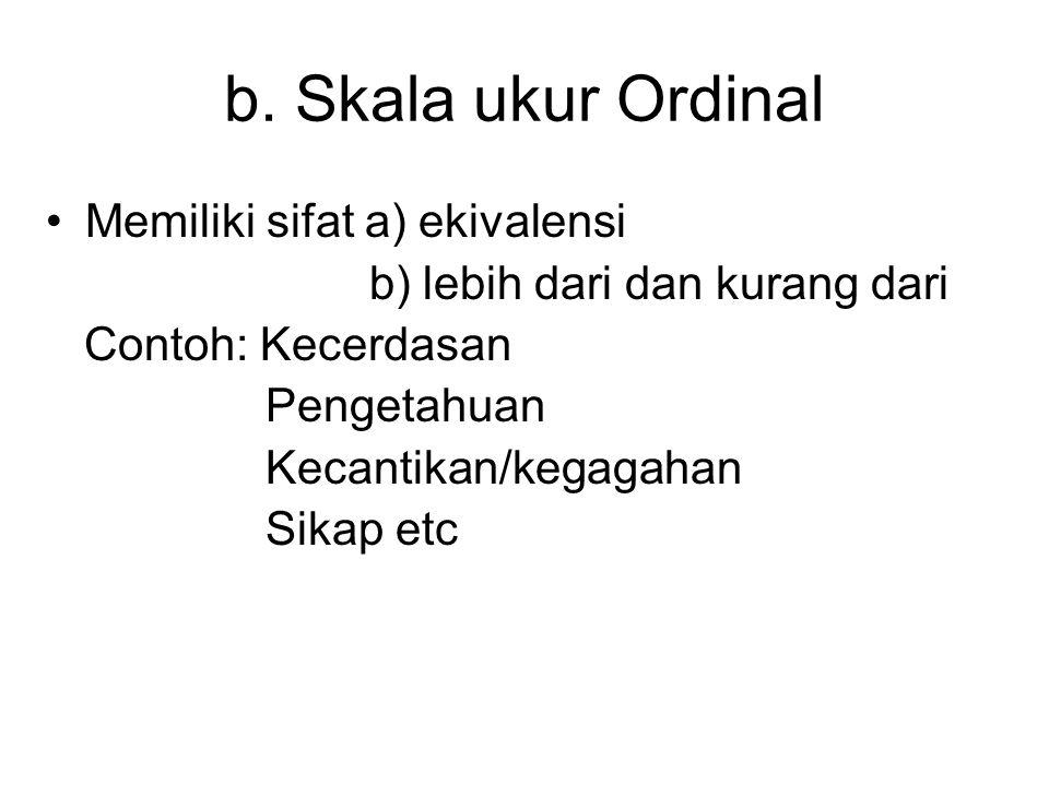 b. Skala ukur Ordinal Memiliki sifat a) ekivalensi