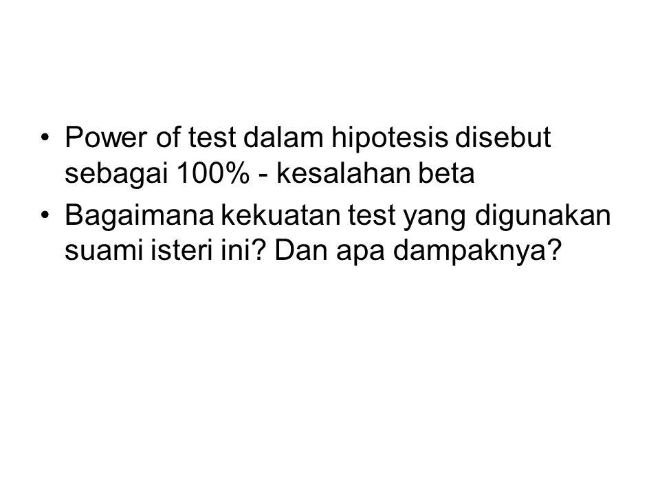 Power of test dalam hipotesis disebut sebagai 100% - kesalahan beta