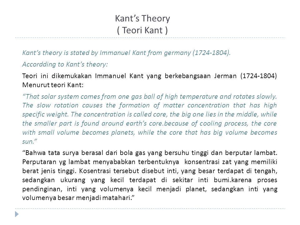Kant's Theory ( Teori Kant )