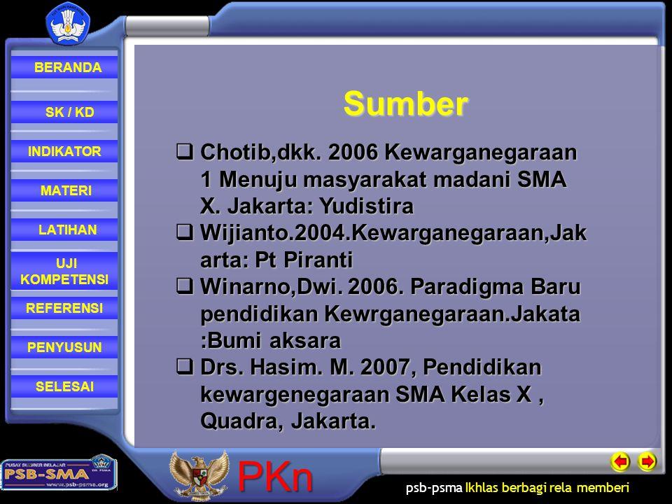 Sumber Chotib,dkk. 2006 Kewarganegaraan 1 Menuju masyarakat madani SMA X. Jakarta: Yudistira. Wijianto.2004.Kewarganegaraan,Jakarta: Pt Piranti.