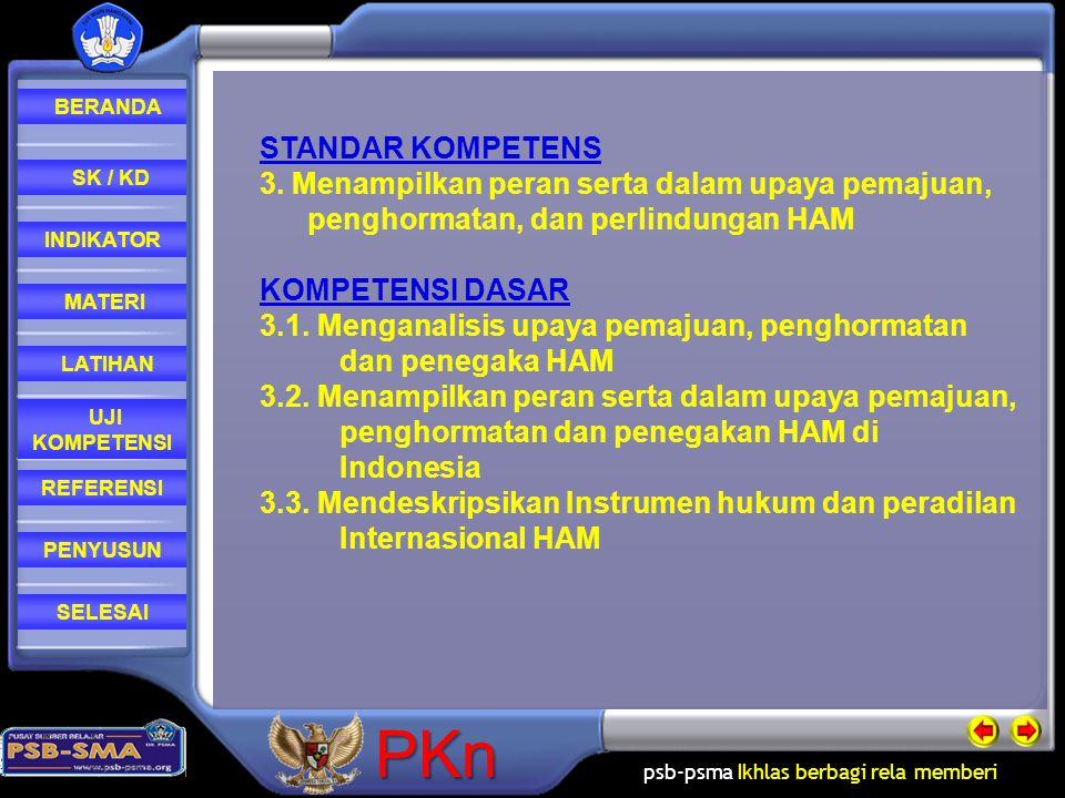 STANDAR KOMPETENS 3. Menampilkan peran serta dalam upaya pemajuan, penghormatan, dan perlindungan HAM.