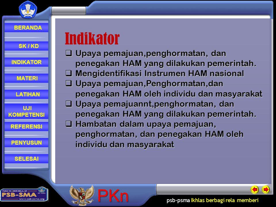 Indikator Upaya pemajuan,penghormatan, dan penegakan HAM yang dilakukan pemerintah. Mengidentifikasi Instrumen HAM nasional.