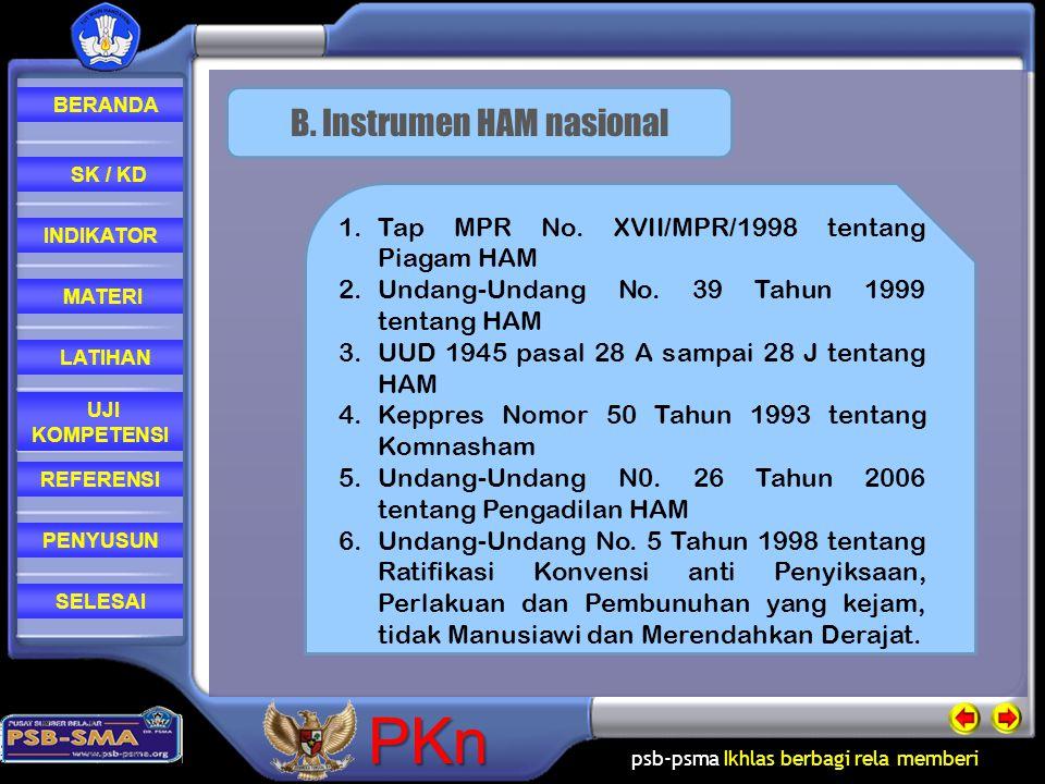 B. Instrumen HAM nasional