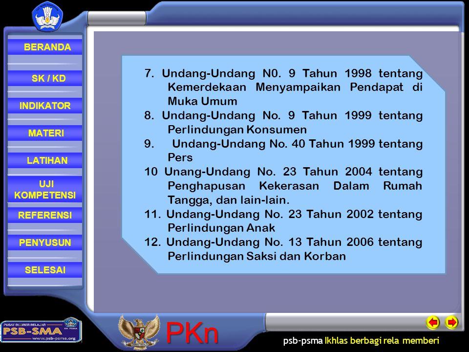 7. Undang-Undang N0. 9 Tahun 1998 tentang Kemerdekaan Menyampaikan Pendapat di Muka Umum