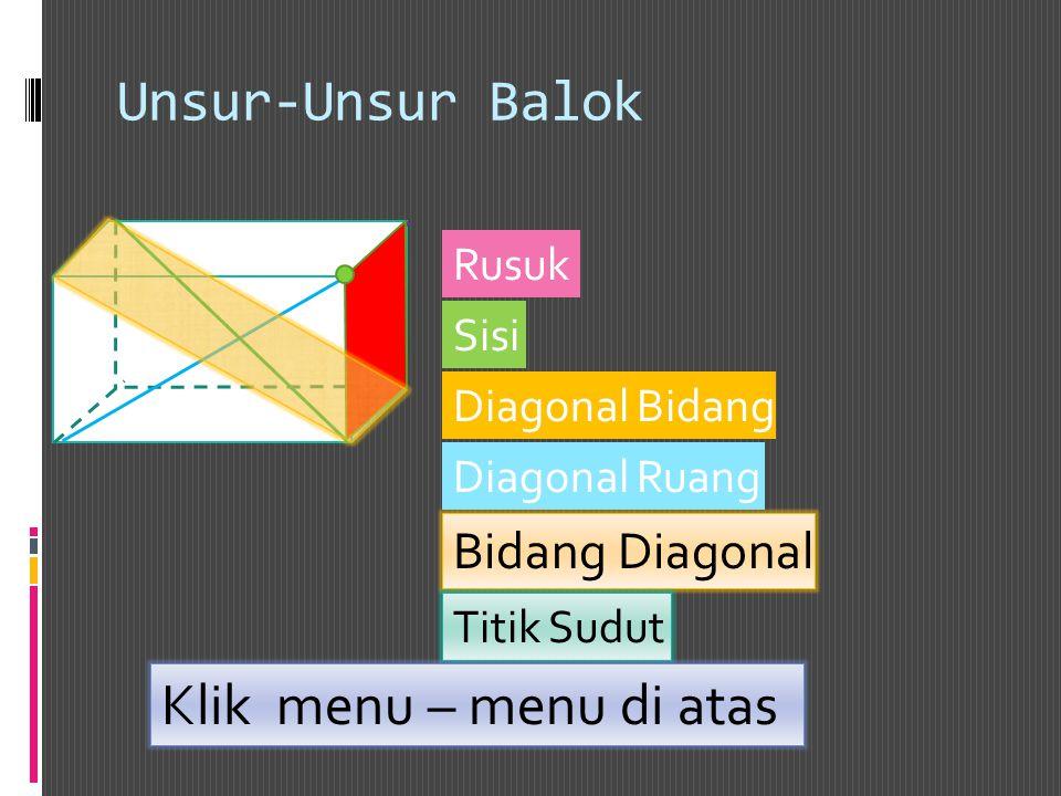 Unsur-Unsur Balok Klik menu – menu di atas Bidang Diagonal Rusuk Sisi