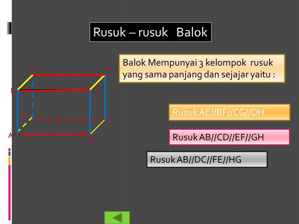 Rusuk – rusuk Balok Balok Mempunyai 3 kelompok rusuk yang sama panjang dan sejajar yaitu : H. G.
