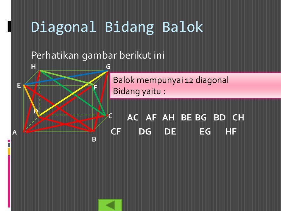 Diagonal Bidang Balok Perhatikan gambar berikut ini