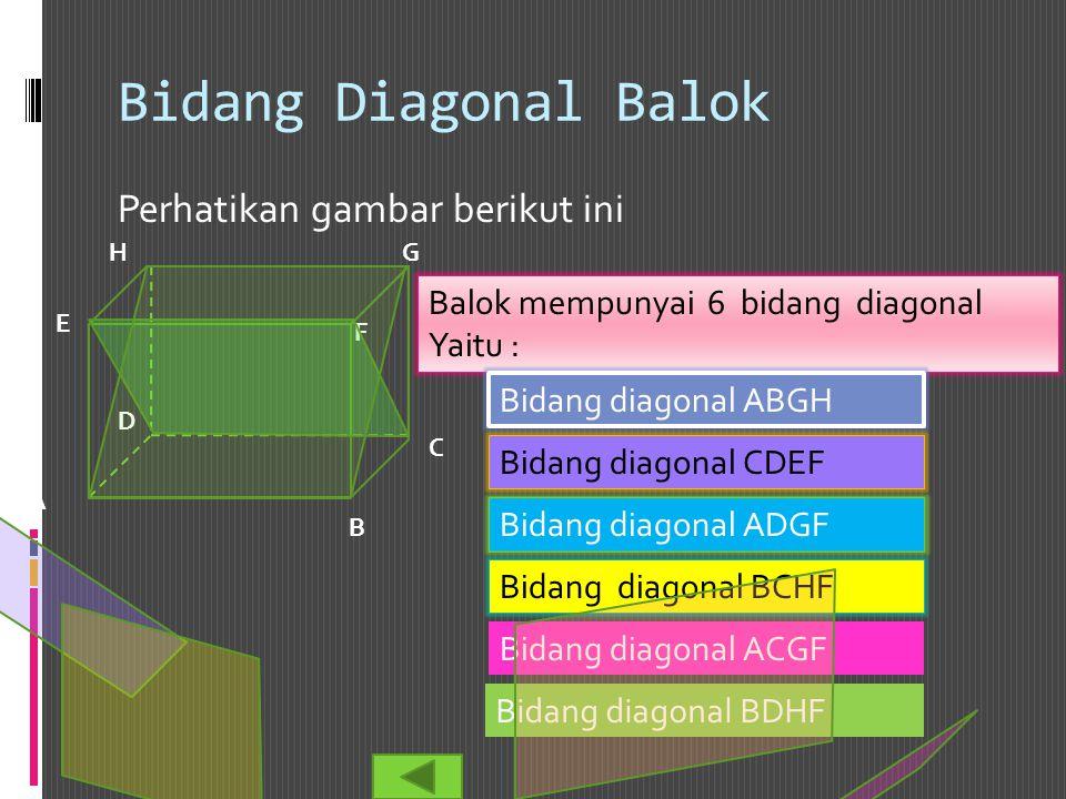 Bidang Diagonal Balok Perhatikan gambar berikut ini