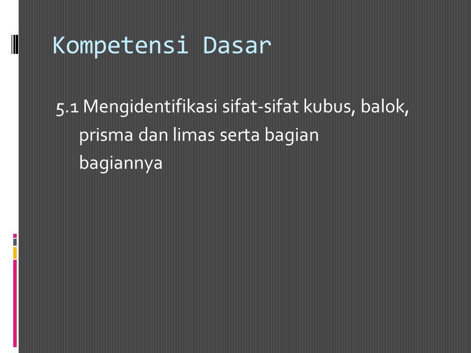 Kompetensi Dasar 5.1 Mengidentifikasi sifat-sifat kubus, balok,