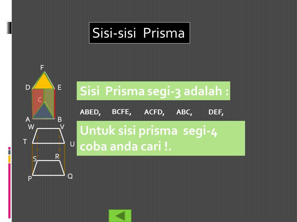 Sisi-sisi Prisma Sisi Prisma segi-3 adalah :