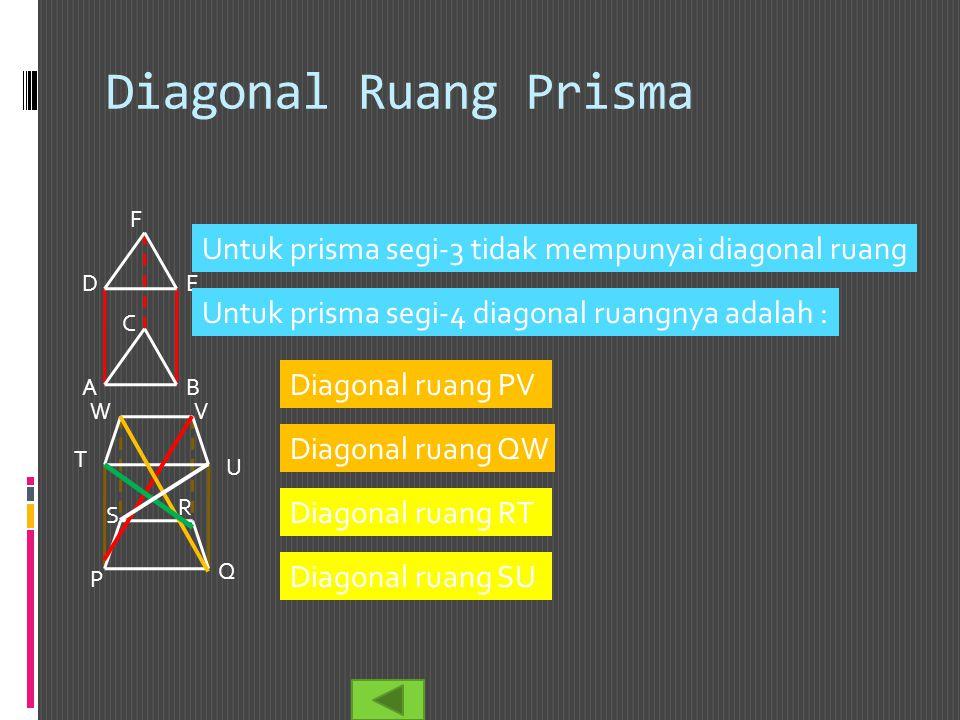 Diagonal Ruang Prisma F. Untuk prisma segi-3 tidak mempunyai diagonal ruang. D. E. Untuk prisma segi-4 diagonal ruangnya adalah :