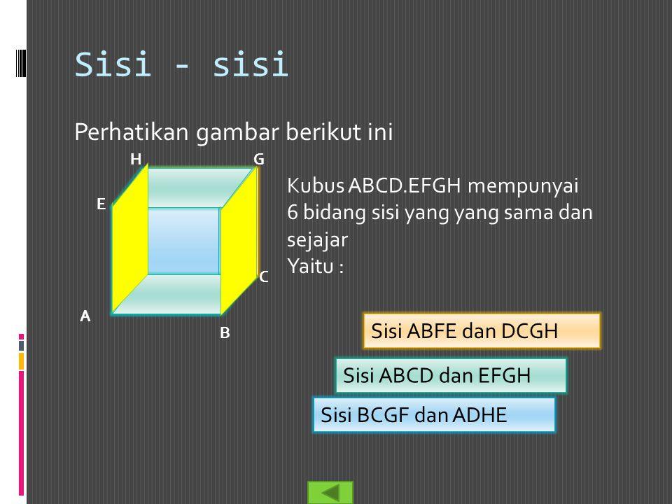 Sisi - sisi Perhatikan gambar berikut ini Kubus ABCD.EFGH mempunyai
