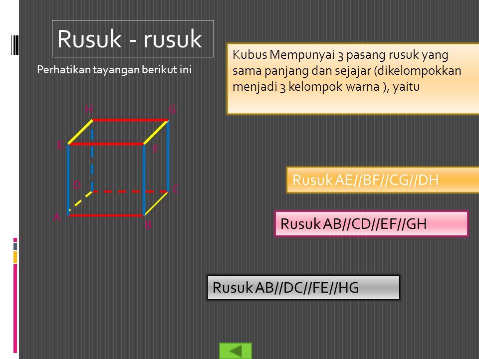 Rusuk - rusuk Rusuk AE//BF//CG//DH Rusuk AB//CD//EF//GH