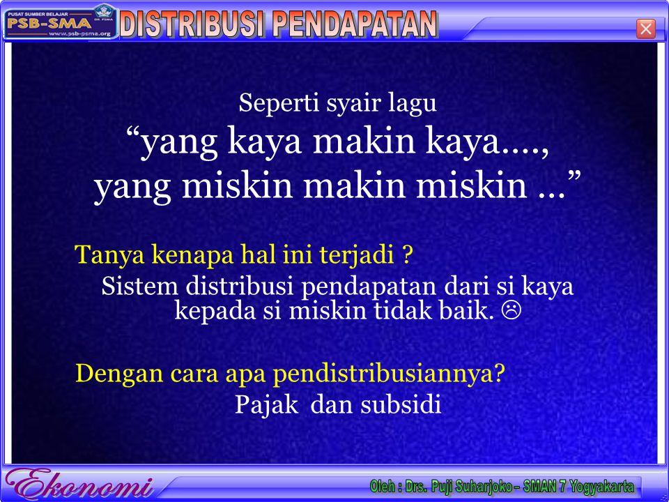 DISTRIBUSI PENDAPATAN Oleh : Drs. Puji Suharjoko – SMAN 7 Yogyakarta
