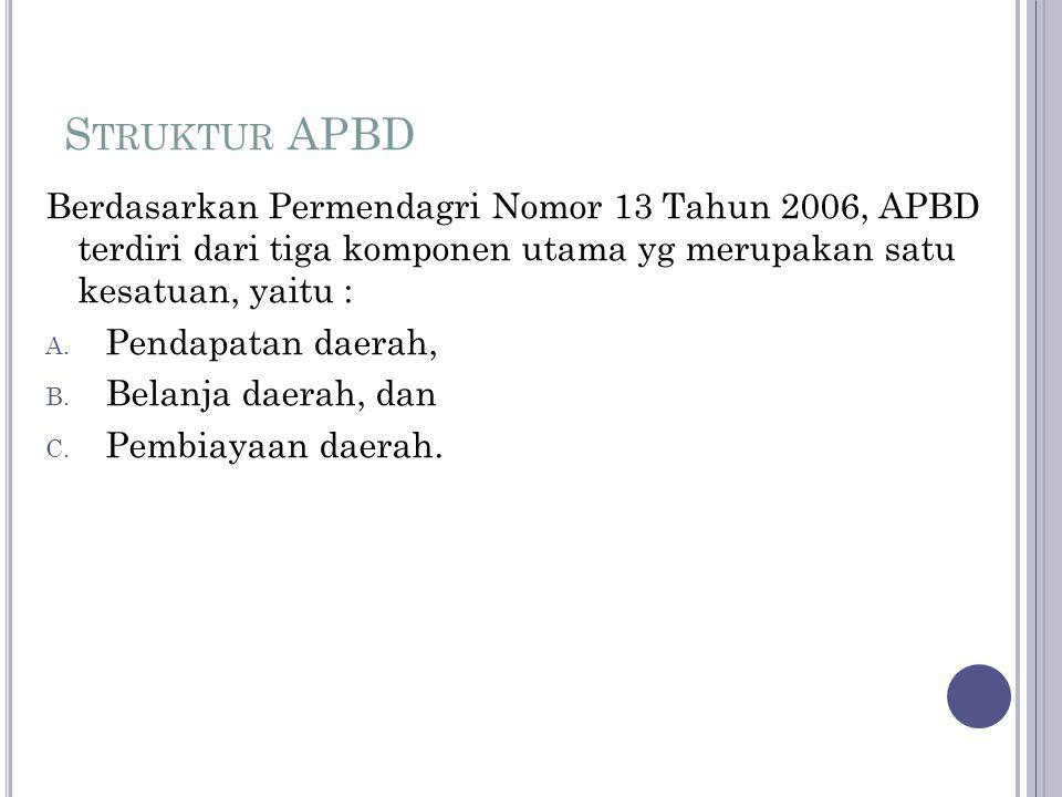 Struktur APBD Berdasarkan Permendagri Nomor 13 Tahun 2006, APBD terdiri dari tiga komponen utama yg merupakan satu kesatuan, yaitu :