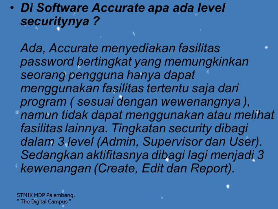 Di Software Accurate apa ada level securitynya
