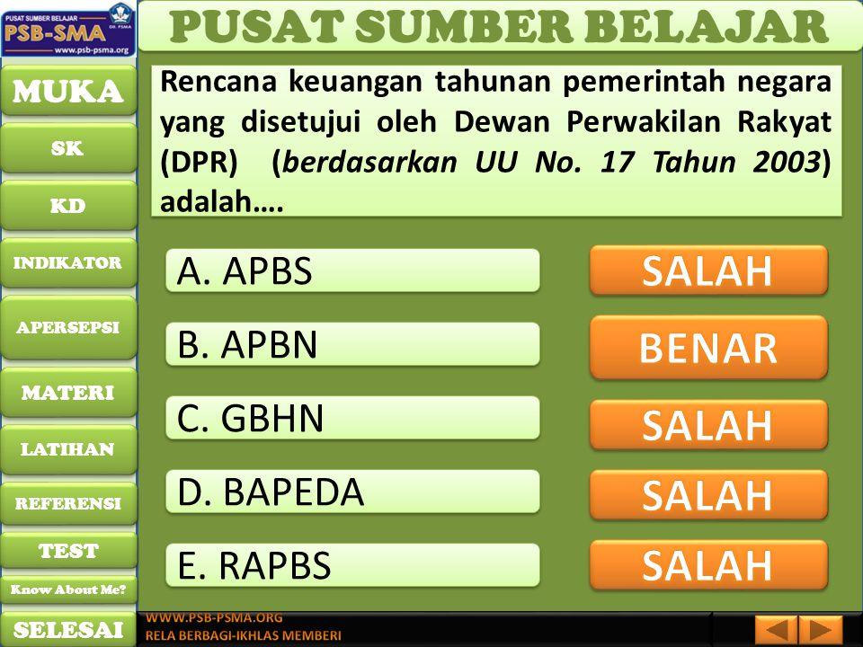 PUSAT SUMBER BELAJAR SALAH BENAR SALAH SALAH SALAH A. APBS B. APBN