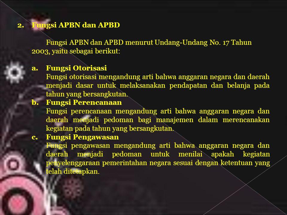 Fungsi APBN dan APBD Fungsi APBN dan APBD menurut Undang-Undang No. 17 Tahun. 2003, yaitu sebagai berikut: