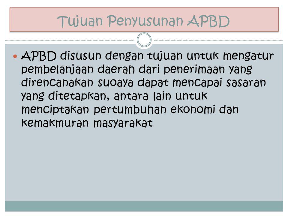 Tujuan Penyusunan APBD