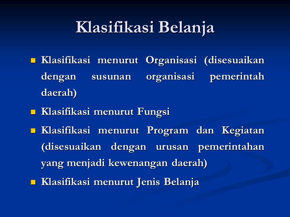 Klasifikasi Belanja Klasifikasi menurut Organisasi (disesuaikan dengan susunan organisasi pemerintah daerah)
