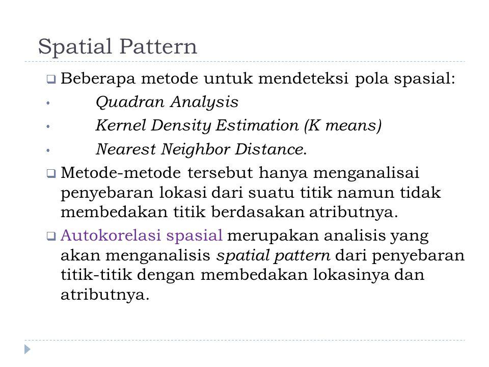 Spatial Pattern Beberapa metode untuk mendeteksi pola spasial: