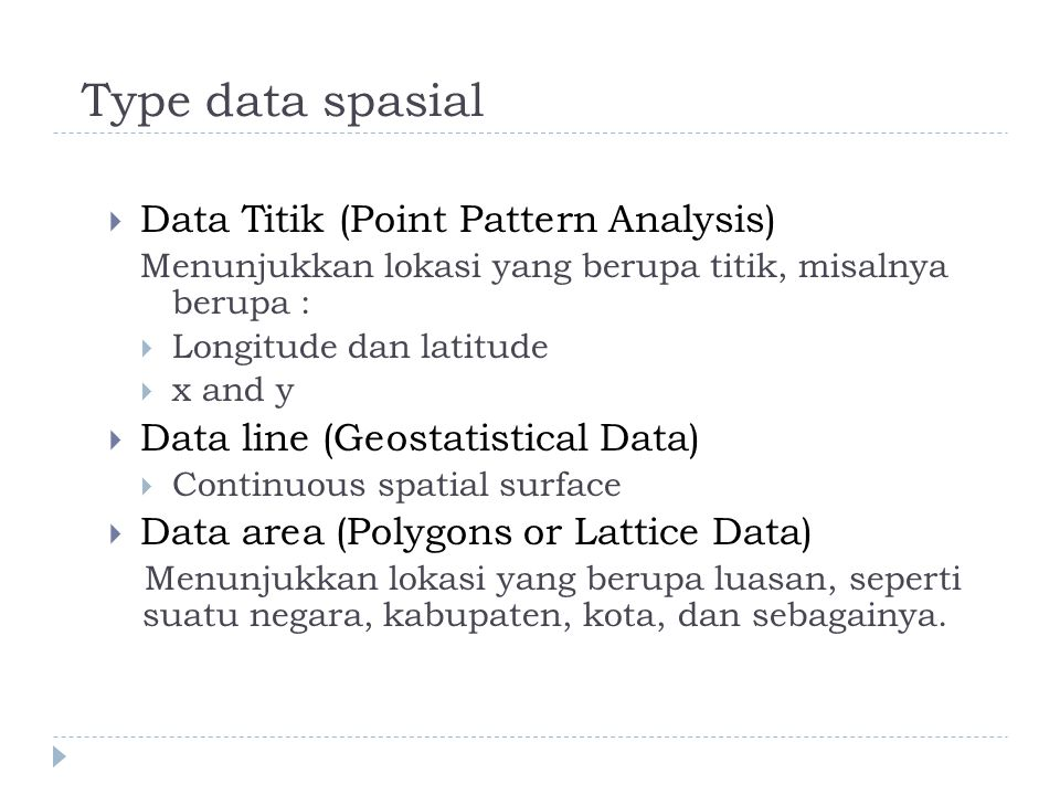Type data spasial Data Titik (Point Pattern Analysis)