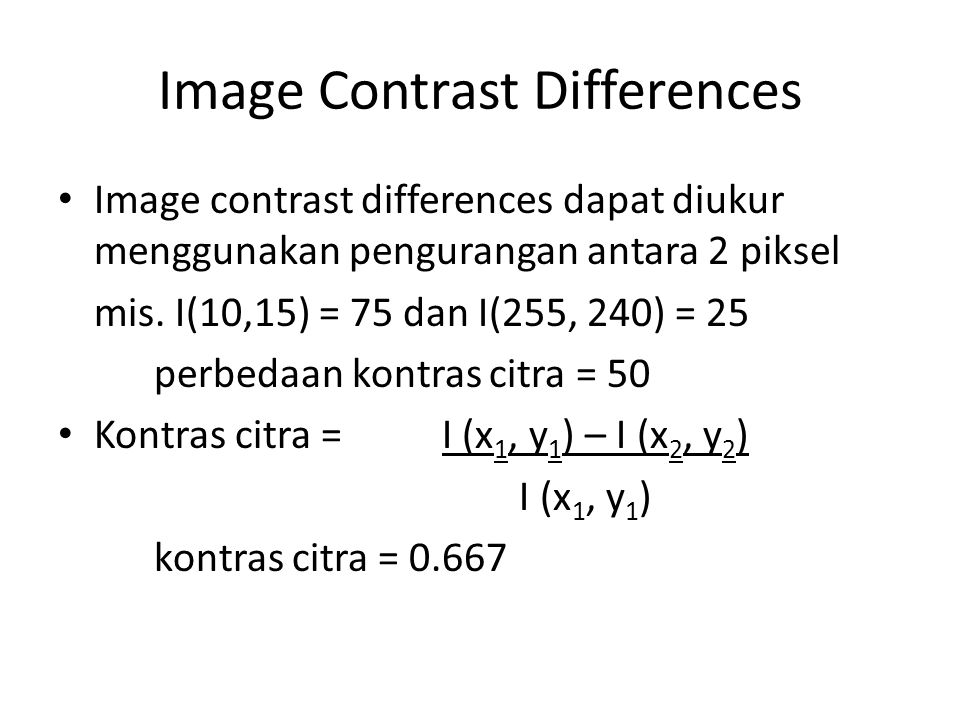Image Contrast Differences