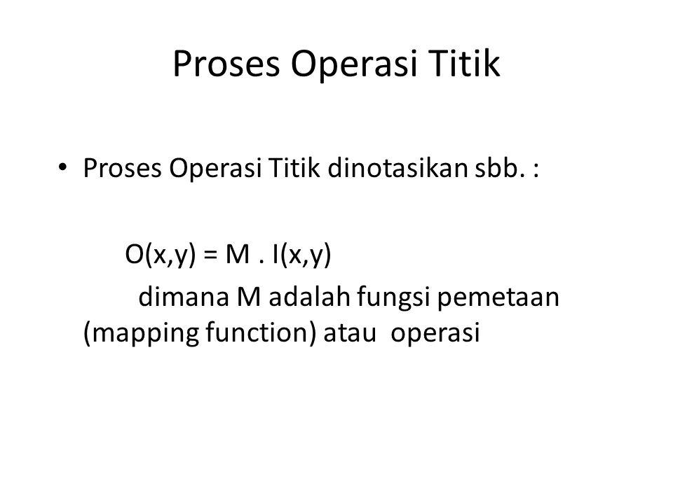 Proses Operasi Titik Proses Operasi Titik dinotasikan sbb. :