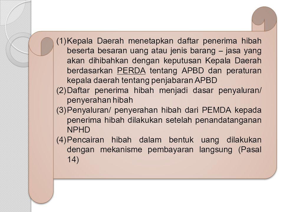 Kepala Daerah menetapkan daftar penerima hibah beserta besaran uang atau jenis barang – jasa yang akan dihibahkan dengan keputusan Kepala Daerah berdasarkan PERDA tentang APBD dan peraturan kepala daerah tentang penjabaran APBD