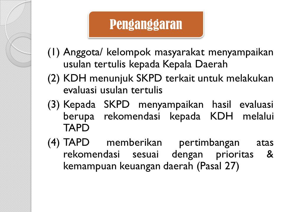 Penganggaran Anggota/ kelompok masyarakat menyampaikan usulan tertulis kepada Kepala Daerah.