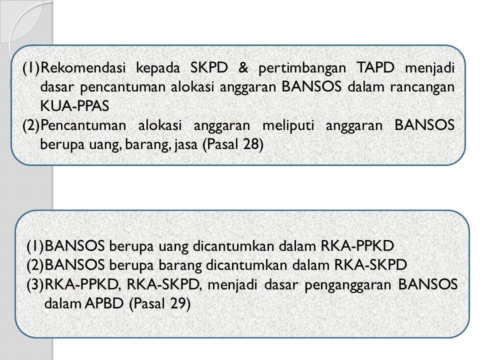 Rekomendasi kepada SKPD & pertimbangan TAPD menjadi dasar pencantuman alokasi anggaran BANSOS dalam rancangan KUA-PPAS